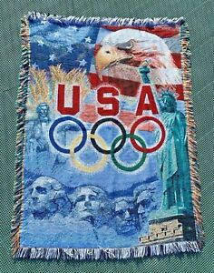 2004 Athens Greece Olympics USA Throw Blanket Afghan Tapestry American Patriotic