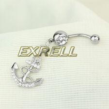 Piercing Ombelico Belly ANCORA Argento in 316L Acciaio Chirurgico Strass ex1l