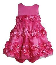 New Girls Bonnie Jean sz 18m Pink 3-D Flower Dress Clothes Birthday Easter $60