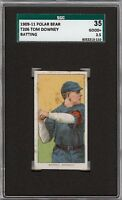 Rare 1909-11 T206 Tom Downey Batting Polar Bear Cincinnati SGC 35 / 2.5 GD +