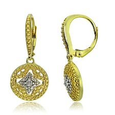 Gold Tone over Sterling Silver Diamond Accent Filigree Dangle Leverback Earrings