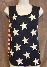 American Flag Red Stars Blue Stripes Women's Blouse Top Shirt SZ M