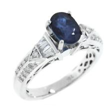 Diamond Sapphire Ring 2.30ct Natural Blue 18k White Gold Engagement