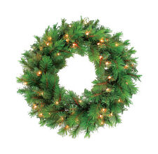 "New! Greenfields Prelit Green Victoria Wreath 125 Clear Lights 30"" Towo300150Ac6"