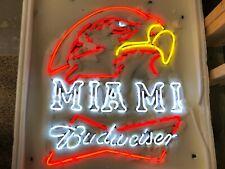 "Miami of Ohio Redhawks Budweiser Bud Neon Light Bar Sign Man Cave 30"" x 24"" New"