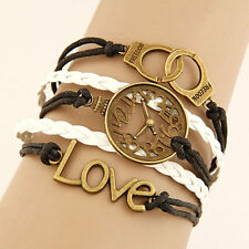 Womens, Girls, Love Charm Bracelet, Jewellery Infinity Leather Friendship Gift