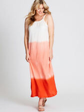Crossroads White Orange Ombre Boho Beach Party Dress 22 Bead Textured Neck