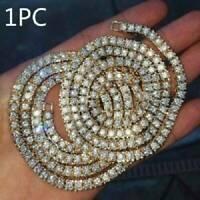 Men Tennis Chain Soild 925 Sterling Silver Lced Diamonds Choker Jewelry