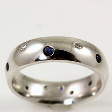 Mens 14K White Diamond and Sapphire Burnish Set Wedding Band Size 9