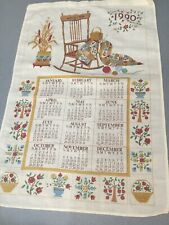 Vintage Linen Towel KITCHEN Calendar 1990 24x17  GRANDMA ROCKING CHAIR QUILTING