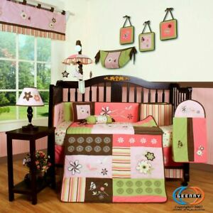 14PCS Floral Dream Baby Nursery Crib Bedding Sets including Musical Mobile