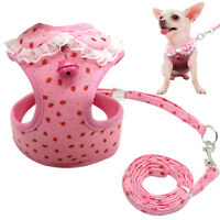 Pink Mesh Padded Small Dog Harness Vest and Leads Cute for Chihuahua Yorkie S-XL