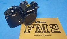 Nikon FM2n 35mm SLR Film Camera Body Only – Black – with  Strap and Manual