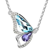 18K WHITE GOLD GP Made With SWAROVSKI Elements Butterfly Wing BLUE NECKLACE