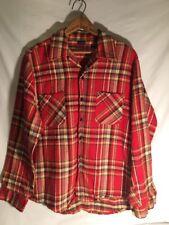 VTG 1970s Large L Gantry Red Yellow Gray Black Plaid Flannel Shirt