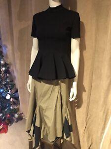 Vivienne Westwood RED LABEL 46 Drunken Style Tailored Brown & Black A-Sym Skirt