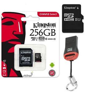 256GB Micro SD Memory Card Micro SDXC Kingston SD Adapter +USB Card Reader