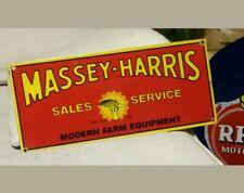 Original rare MASSEY HARRIS SALES SERVICE MODERN FARM EQUIPMENT porcelain sign