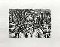 Frans Masereel: Hafenarbeiter. [1963]. Signierte Original-Lithografie.