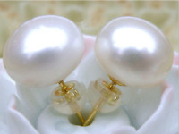 Stunning AAAA 7-8mm Cultured white akoya  pearl stud earring 14k gold