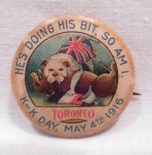 Vtg Wwi Propaganda Pinback Button Pin K of K Day Toronto Canada May 4 1916