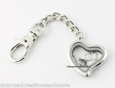 Plain Heart Floating Charm Memory Locket Key Chain With Lobster Dog Clasp