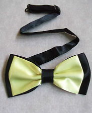 TOP QUALITY MENS DICKIE BOW TIE TWO TONE YELLOW BLACK ADJUSTABLE BOWTIE NEW