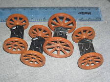 Lego Castle / Minifigure Items 4 Sets of Brown Cannon Wheels + Black Axles