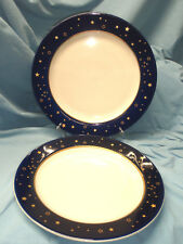 "Lot 2 HOMER LAUGHLIN Blue Band Gold Star Charger Platter Chop Plate 12.25"" VGC"
