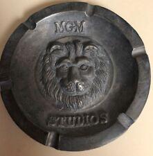 Vintage Metro Goldwyn Meyer MGM Studios white aluminum ash tray with Lion face