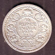 King George V-1/4 Rupee 1919 Silver Calcutta Mint  Coin #S105