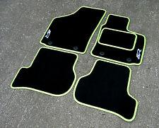 Black/Kiwi Green Car Mats to fit Seat Leon Cupra R (2008-2012) + Silver R Logos