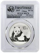 2015 10 Yuan People's Republic Of China 1 oz 999 Chinese Silver Panda PCGS MS70
