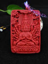 Natural Red Organic Cinnabar Thousand-hand Bodhisattva Pendant Lucky Amulet Hot