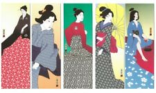 Japanese Geishas bookmarks. Complete set. 5 bookmarks. Produced in Switzerland.