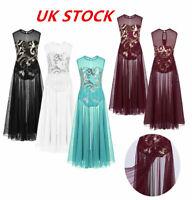 UK Girls Lyrical Dress Dance Gym Latin Skirts Ballroom Kids Long Maxi Dancewear