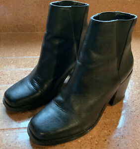 Shellys Of London Ankle Chelsea Black Leather Boots Size 5.5