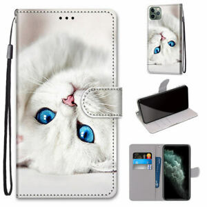 Cute Cartoon Cat Hot Flip Card Wallet Bracket Case Back Cover For Various Phones