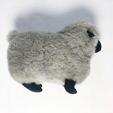 Vintage Genuine Shearling Sheep Stuffed Animal Grey Black Toy Cute Soft Mexico