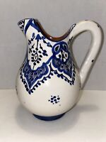 Vintage Blue & White Serghini Safi Moroccan Pottery Pitcher Signed by Artist