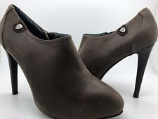 Replay Womens Leather Zip Up Ankle Boots Shoes High Heels Brown Size 7 New