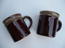 2 - Vintage Coffee Cups Dark Brown/Tan Taiwan Pottery Glazed Stoneware Mugs