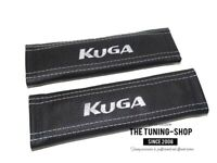 2 x Seat Belt Armrest Covers Pads Leather White Embroidery for Ford Kuga