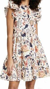 AUTH Retail $345 ULLA JOHNSON Eden Tiered Floral-print Cotton-Poplin Dress Daisy