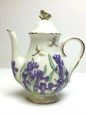 Lenox 2005 Springtime Splendor Fine China Teapot Parvaneh Holloway Dragonfly