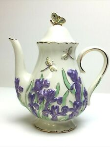 Lenox 2005 Springtime Splendor Fine China Teapot Parvaneh Holloway Dragonfly