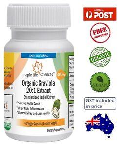 Organic Graviola 20:1 Extract Capsules (Soursop Extract) - 400mg - AU Stock