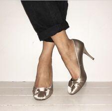 DUNE Champagne Satin Closed Toe Stilettos Heels Courts Size 6