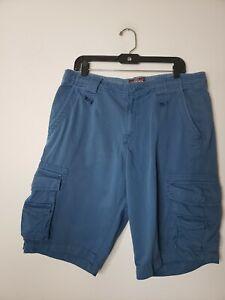 Matchstick Men's Cargo Shorts Size 36 Blue Work Construction Casual Drawstring