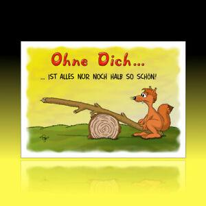 10 lustige Postkarten Grußkarten Freundschaft Liebe Herz Cartoon 'Ohne Dich ...'